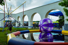 Large zorbing balls - zorbs on waterpull during the City Day in Veliky Novgorod Stock Image