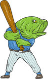 Largemouth Bass Baseball Player Batting Cartoon. Illustration of a largemouth bass baseball player holding bat batting looking to the side viewed from front set Royalty Free Stock Image