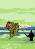 Largemouth Bass Fish fisherman. Illustration of a Largemouth Bass Fish jumping being reeled by Fly Fisherman with Fishing rod done in retro style Royalty Free Stock Image