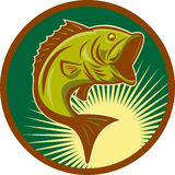 Largemouth bass fish jumping. Illustration of a largemouth bass fish jumping set inside circle with forest green background done in retro style Royalty Free Stock Photography