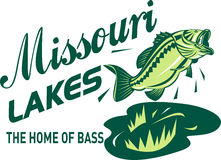 Largemouth bass jumping. Illustration of a largemouth bass jumping with words missouri lakes home of bass Stock Image