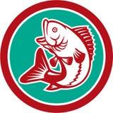 Largemouth Bass Jumping Circle Retro Royalty Free Stock Images