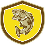 Largemouth Bass Jumping Shield Retro. Illustration of a largemouth bass fish jumping inside a shield crest done in retro style Royalty Free Stock Photos