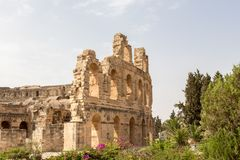 The Roman Amphitheater of El Jem is one of the best in the world in the preservation, Tunisia stock image