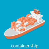 Larger boat is transporting various size cargo containers. Stock Photos