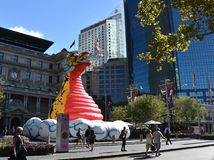Larger than life lanterns in the shape of Dragon. Chinese zodiac animals at Circular Quay. Sydney, Australia - Feb 7, 2019. Larger than life lanterns in the stock photography