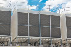 Larger Water Chillers Rooftop Units of Air Conditioner. For Large Industry Air Cooling system royalty free stock photo