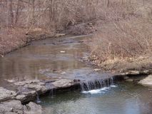 Larger waterfall along walking trail. Waterfall on trail in Missouri stock photo
