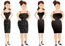 Larger woman and thinner woman. Four individual illustrations of the same woman, both thinner and larger, in two different dresses. E.P.S. 10 vector file Royalty Free Stock Photography