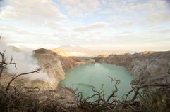 Acidic crater lake at Cava Ijen vocalno crater,east java, indonesia. Largest Acidic crater lake of the world, cava ijen volcano royalty free stock photos