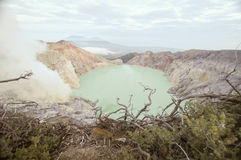 Acidic crater lake at Cava Ijen vocalno crater,east java, indonesia. Largest Acidic crater lake of the world, cava ijen volcano royalty free stock photography