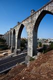 The largest aqueduct is `Free Waters`. Lisbon`s business card. royalty free stock images
