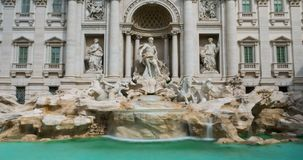 Timelapse of the famous Trevi Fountain. Largest Baroque fountain in city and most famous fountain in the world. Trevi Fountain historic Rome Italy. Roman stock video