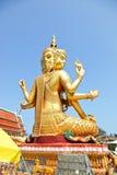 Largest brahma statue against blue sky at Wat Samaesan. Royalty Free Stock Photos