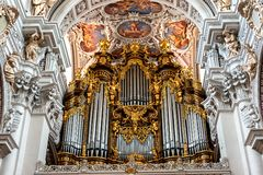 The largest cathedral organ in the world, St. Stephen`s cathedral, Passau, Germany. Passau, Bavaria, Germany : inside St Stephen's Cathedral with the royalty free stock photos