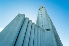 The largest church in Iceland, the Hallgrimskirkja. REYKJAVIK, ICELAND - APRIL 7 - 2016: The largest church in Iceland, the Hallgrimskirkja royalty free stock images