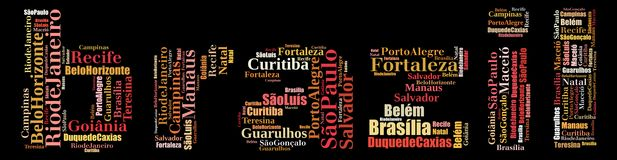 Largest cities or towns of Brazil info-text graphics. And arrangement concept (word cloud) on black background Royalty Free Stock Image