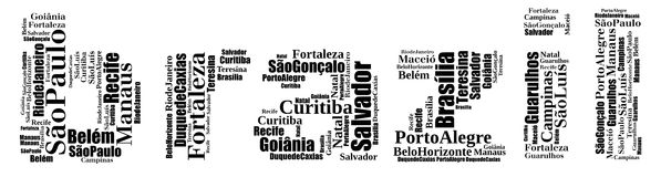 Largest cities or towns of Brazil info-text graphics. And arrangement concept (word cloud) on white background Royalty Free Stock Photos