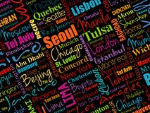 The largest cities in the world word cloud royalty free illustration