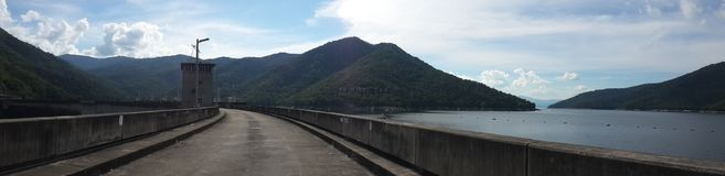 The largest concrete dam in Thailand Water storage and agricultural production. Bhumibol Dam is located in Tak Province. The largest concrete dam in Thailand Royalty Free Stock Photography