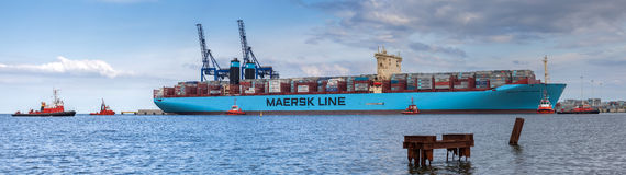The largest container ship in the world in port of Gdansk, Poland. royalty free stock photography