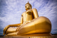 The largest golden Buddha with blue sky as a backdrop. Royalty Free Stock Image