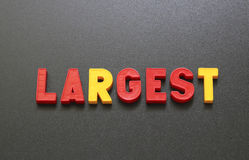 Largest. The image and the inscription letters on a blackboard Stock Image