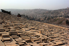 Largest Jewish cemetery in the world on slopes of Mount of Olives Royalty Free Stock Photos