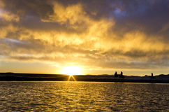 The largest lake in Tibet. Nam Co, Tibet, China sunset Stock Images