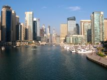 The largest man-made marina in the world. Dubai Marina is an artificial canal city, built along a two mile (3 km) stretch of Persian Gulf shoreline Royalty Free Stock Image