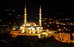 Largest mosque. In the night glow Stock Images