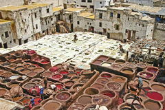 The largest paintbox on Earth. In Fes, in the leatherquarter, there is this place where several man are busy dying and tanning leather skins in order to make stock photo