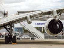 Airbus A380. View on one rightside Rolls & Royce turbofan engine. Largest passenger aircraft Airbus A380. View on right R&R engines. Wing bending over the Royalty Free Stock Photo