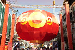 The largest red Chinese lanterns. Royalty Free Stock Image