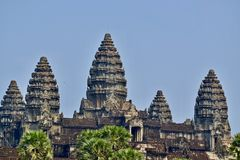Towers of Angkor Wat Temple, Siem Reap, Cambodia royalty free stock photo