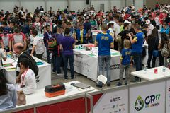 The largest Robotics Competition in Costa Rica for students around the world. San Jose, Costa Rica - November 12, 2017: The largest Robotics Competition in royalty free stock photos