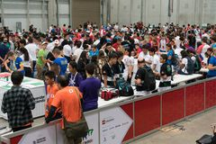 The largest Robotics Competition in Costa Rica for students around the world. San Jose, Costa Rica - November 12, 2017: The largest Robotics Competition in stock photo