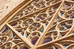 The largest rose window of the Cathedral of Santa Maria of Palma, also known as La Seu, from the outside. Palma, Mallorca. Spain Royalty Free Stock Photography
