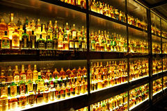The largest Scotch Whisky collection in the world. EDINBURGH, SCOTLAND - JULY 10:  Diageo Claive Vidiz collection, the largest Scotch Whisky collection in the Royalty Free Stock Photos