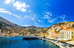 Largest ship in port of Symi. pictorial Greece series- island, Dodecanes. Largest ship in the port of Symi. pictorial Greece series- island, Dodecanes Stock Image