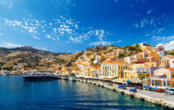 Largest ship in port of Symi. pictorial Greece series-  island, Dodecanes Royalty Free Stock Photography