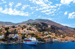 Largest ship in port of Symi. pictorial Greece series- island, Dodecanes Royalty Free Stock Photos