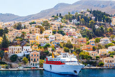 Largest ship in the port of Symi. pictorial Greece series-  island, Dodecanes Stock Images