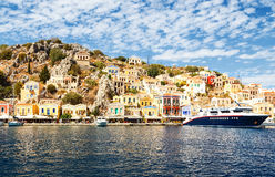 Largest ship in port of Symi. pictorial Greece series- Symi island, Dodecanes Stock Image