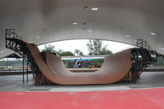 Largest skate park half pipe public track in the world Stock Photos