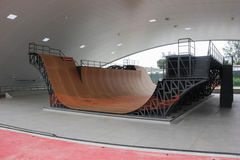 Largest skate park half pipe public track in the world Stock Images