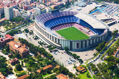 Largest stadium of Barcelona from helicopter. Catalonia Stock Photo