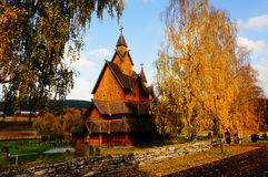 The largest stave church in Norway from 1200 y Stock Photos