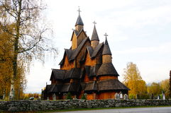 The largest stave church in Norway from 1200 y Royalty Free Stock Photo