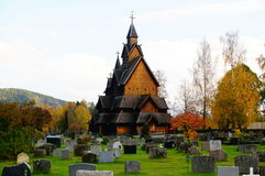 The largest stave church in Norway from 1200 y Royalty Free Stock Images